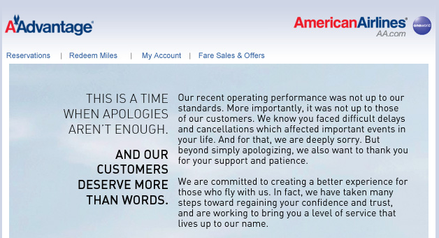 AA Advantage Apologies