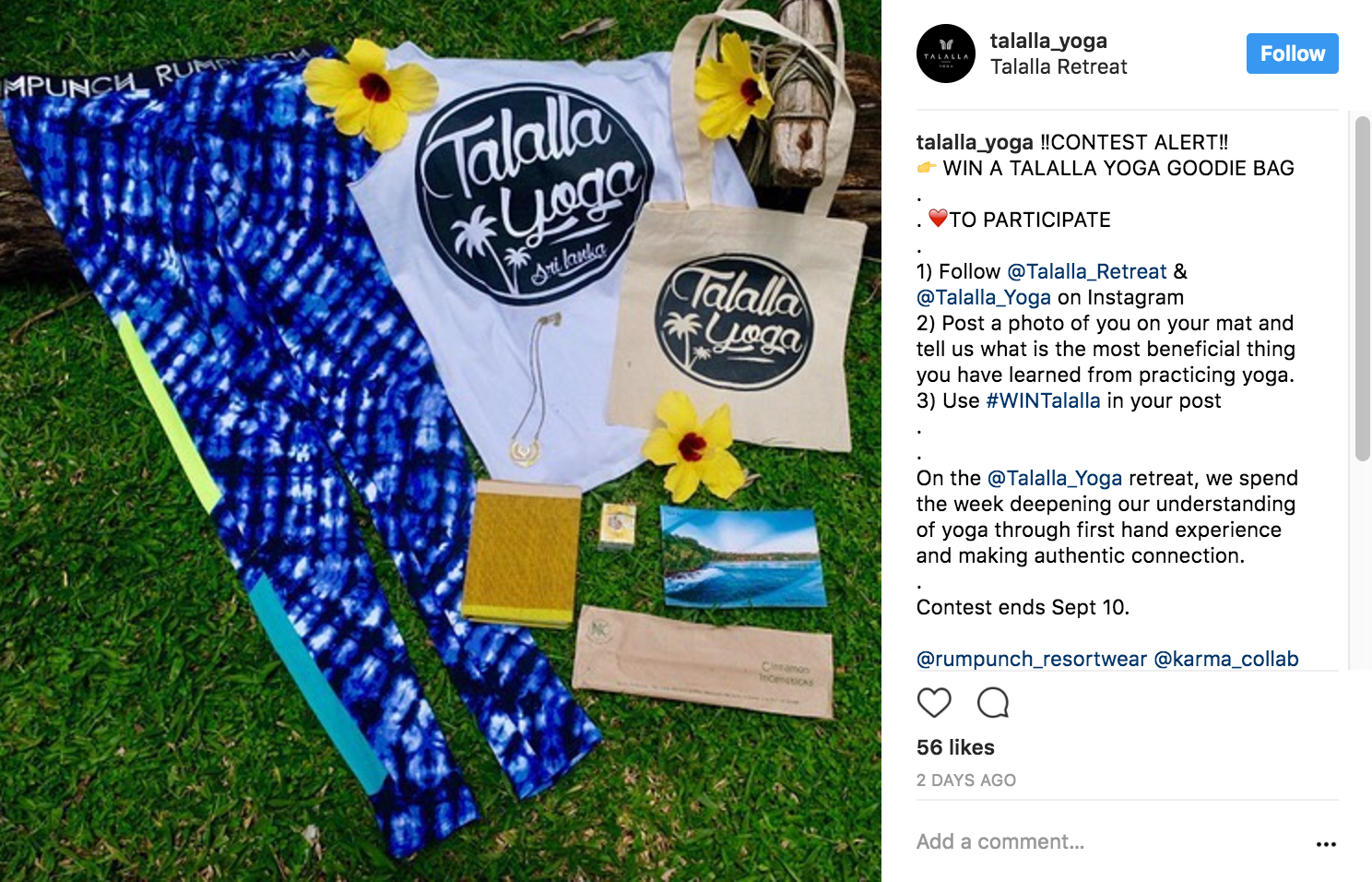 how to do an instagram giveaway talalla yoga