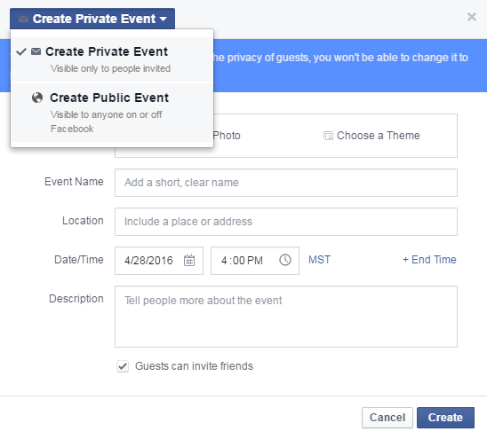 make public event on facebook