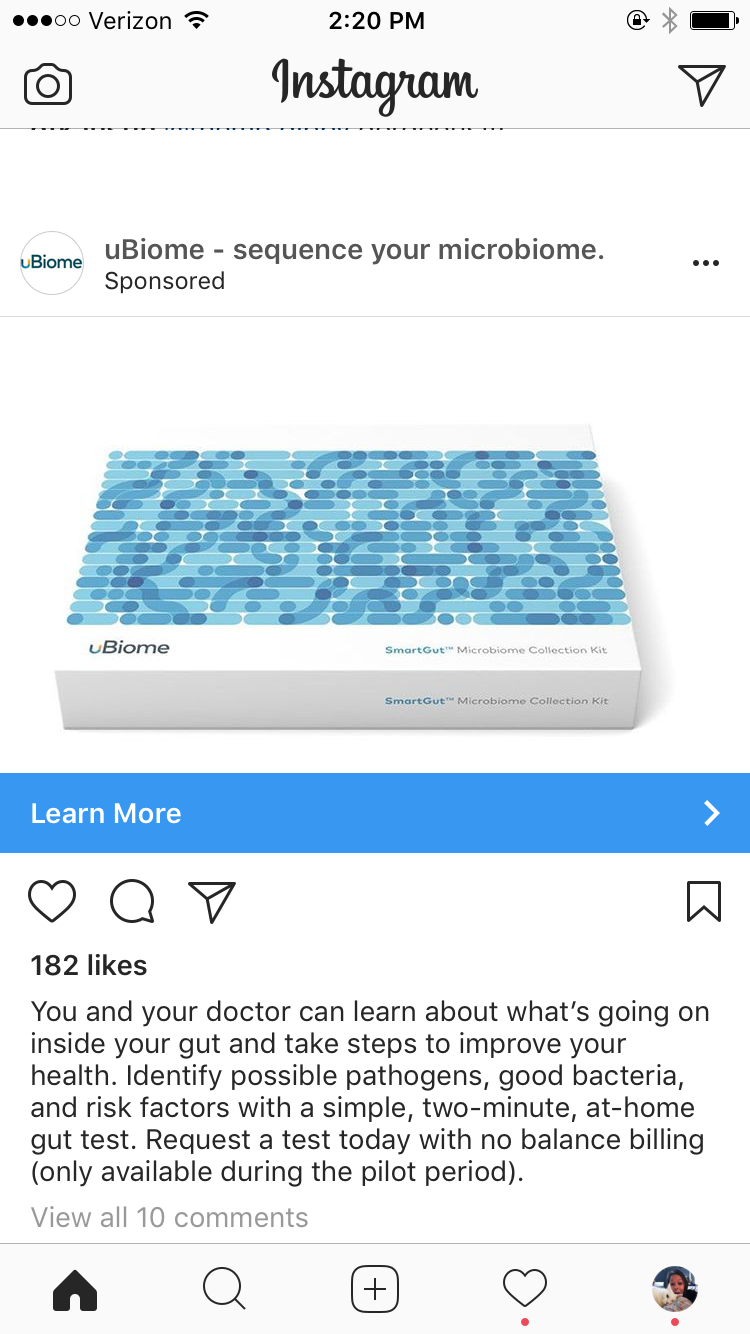 examples of instagram ads ubiome