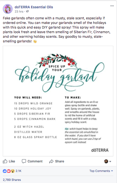 doterra holiday facebook post tips