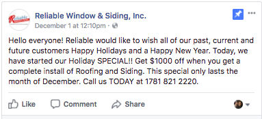 facebook holiday post ideas window and siding