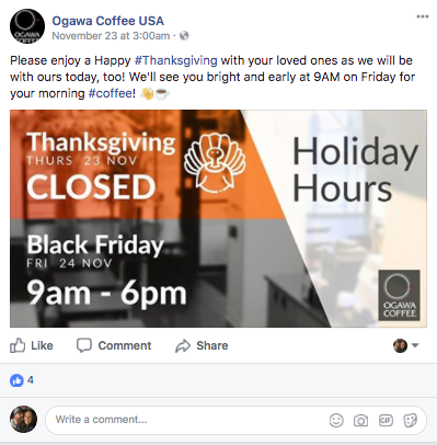 holiday facebook post announce your hours
