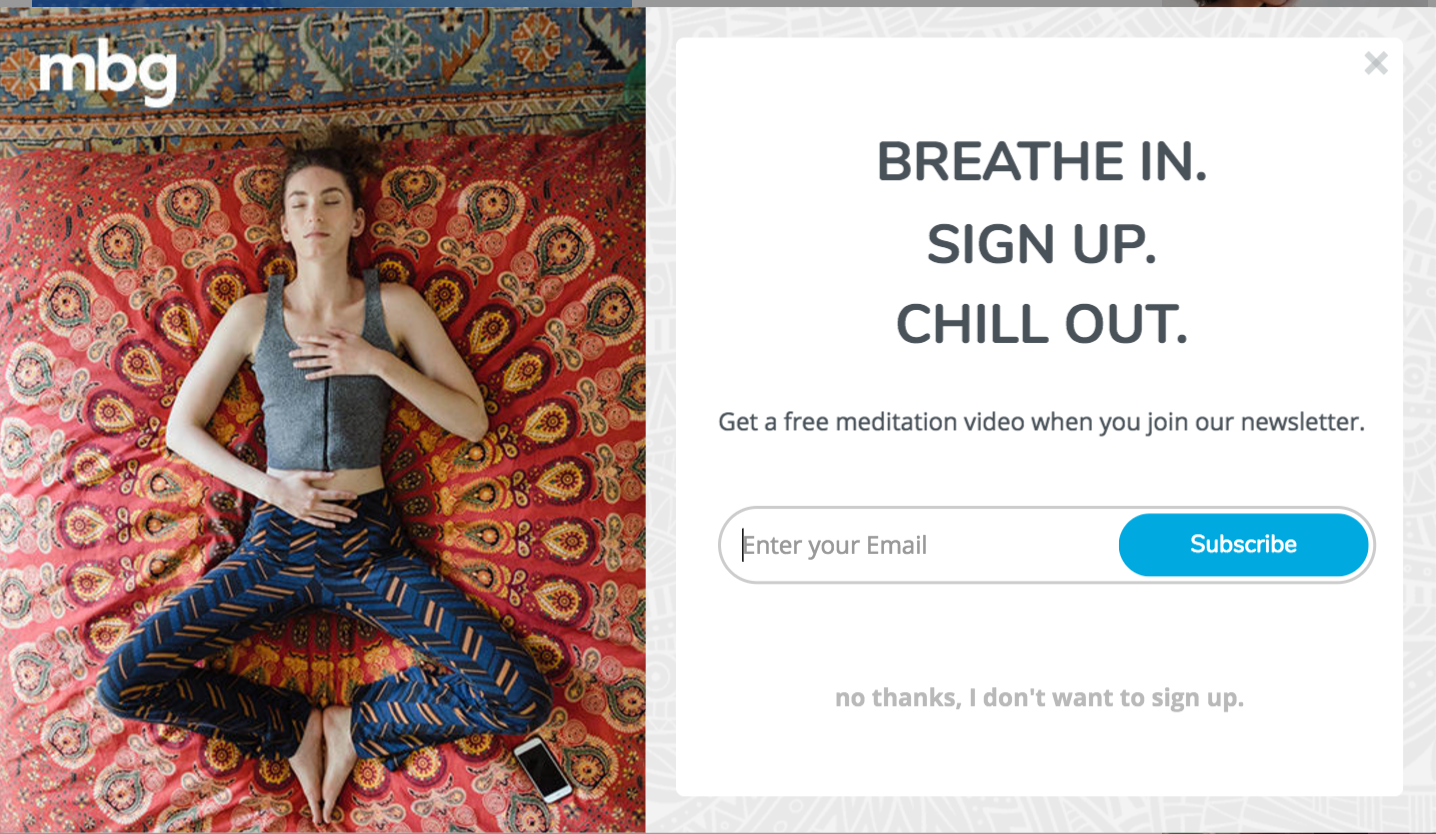 unique creative clever CTA example breathe in sign up chill out