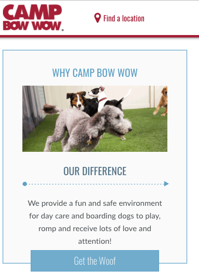 unique creative clever call to action examples get the woof
