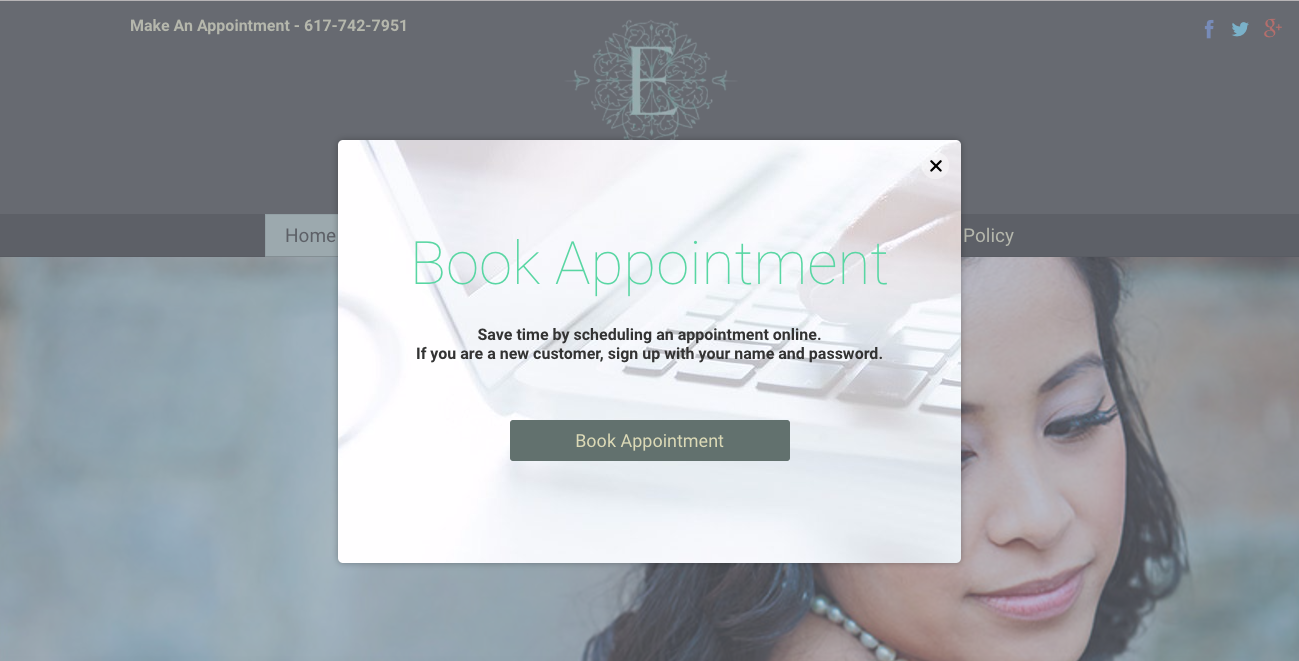 website CTA examples book appointment salon euphoria