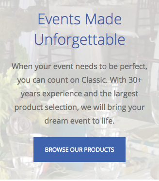 website CTA examples browse our products CTA classic party rentals