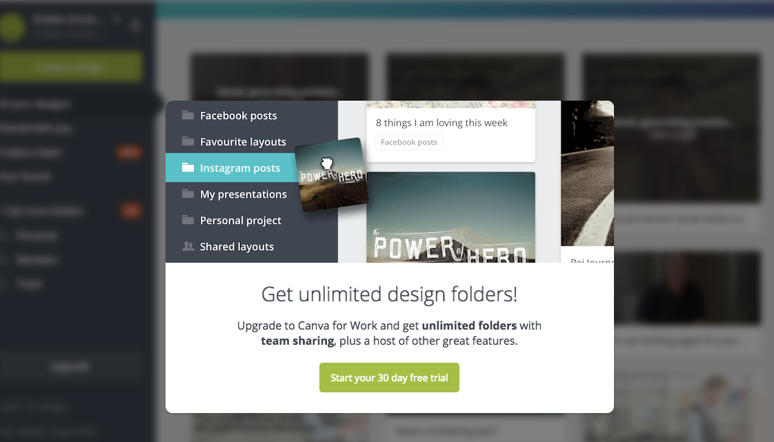 website CTA examples canva start your 30 day free trial