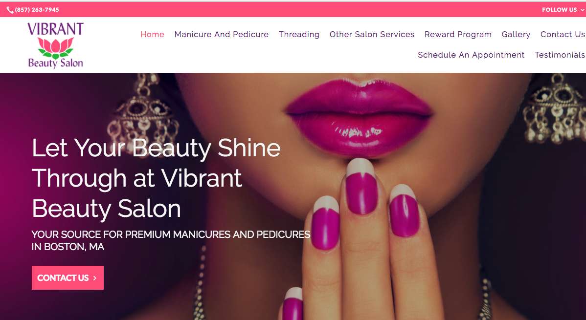 website CTA examples contact us Vibrant Beauty sALON