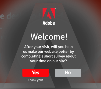 website CTA examples- survey Adobe CTA