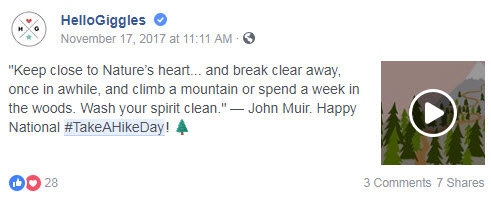 november facebook ideas hike