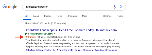 how to get star ratings to show next to google ads 1