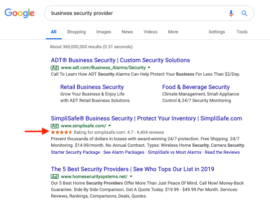 how to get star ratings to show next to google ads 2