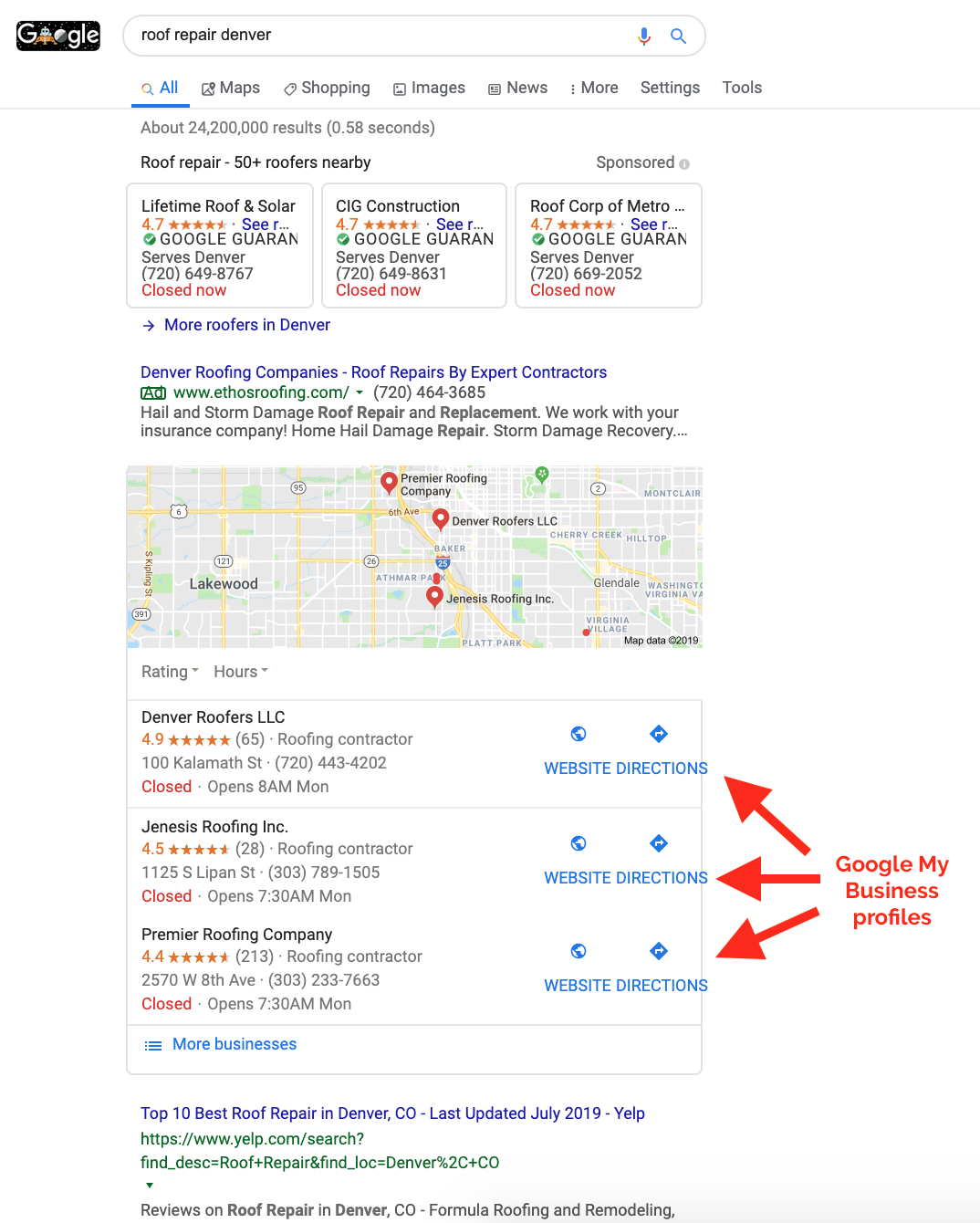 google my business profile local results