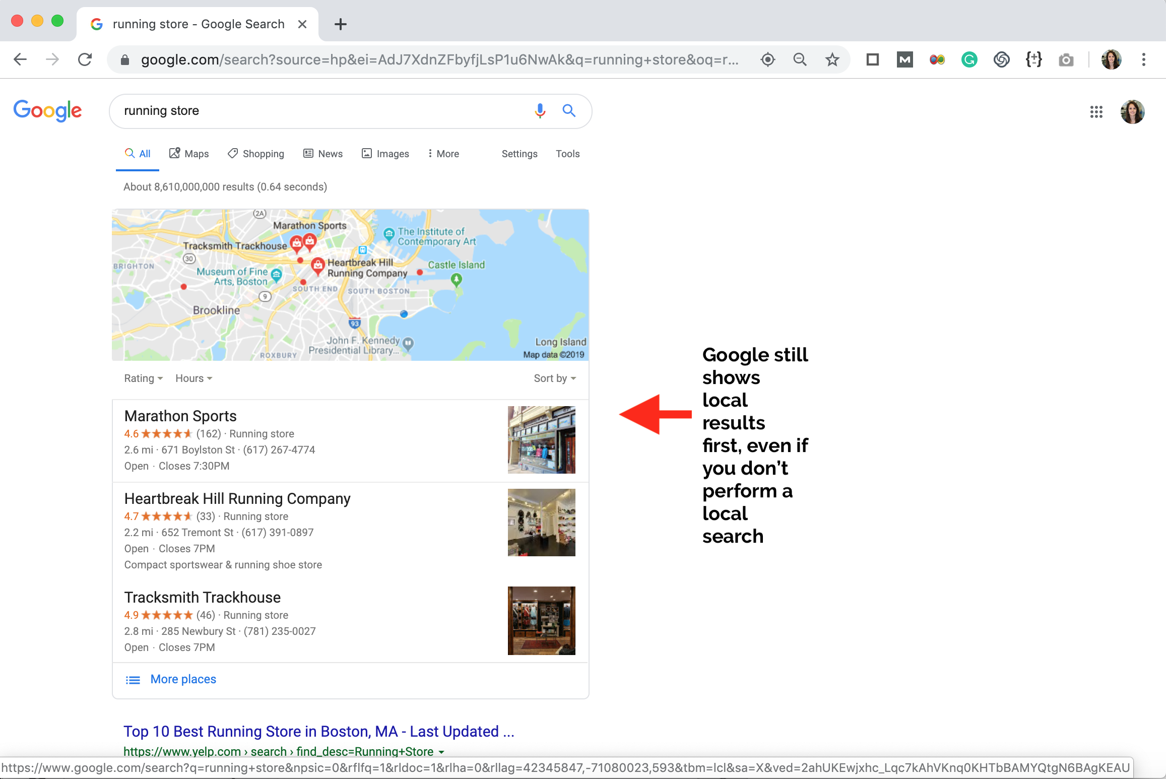 show up in near me searches local results
