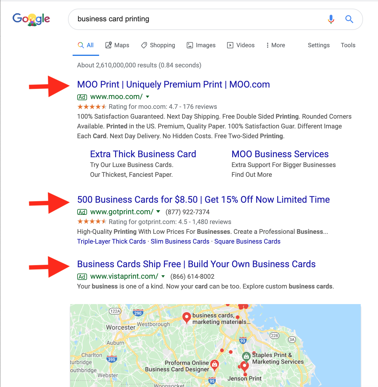 how to get to the top of google google ads example